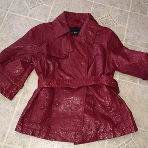 MOSSIMO red patent NWOT belted trench jacket